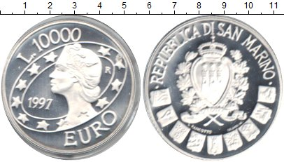 Картинка Монеты Сан-Марино 10.000 лир Серебро 1997