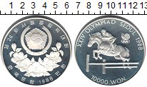 Изображение Монеты Северная Корея 10000 вон 1988 Серебро Proof- XXIV Олимпийские игр