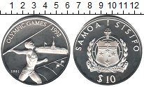 Изображение Монеты Самоа 10 долларов 1991 Серебро Proof Олимпиада 1992 в Бар