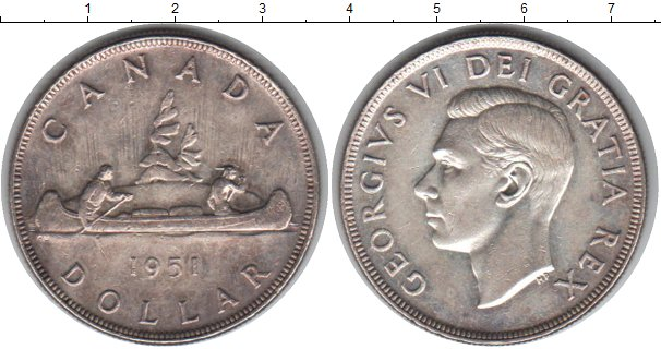 Картинка Монеты Канада 1 доллар Серебро 1951