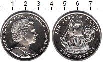 Изображение Мелочь Сендвичевы острова 2 фунта 2001 Медно-никель UNC Джозеф Банкс