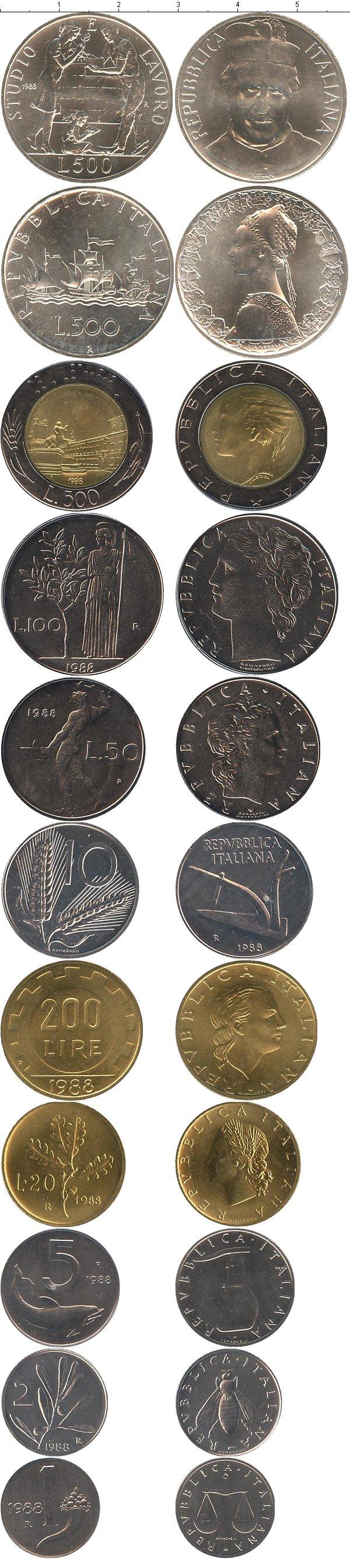 Картинка Подарочные наборы Италия Выпуск монет 1988 года  1988