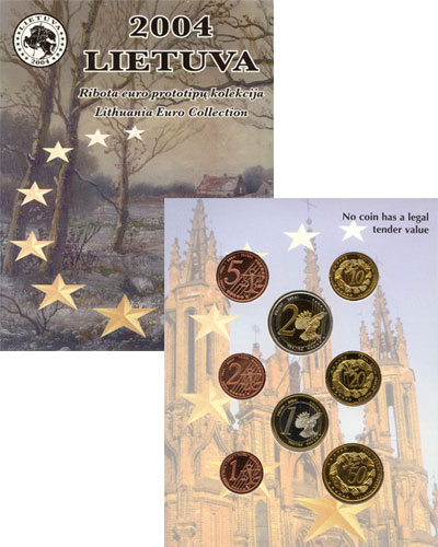 Изображение Подарочные монеты Литва Пробный Евронабор 2004 2004  UNC Евронабор 2004 года