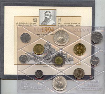 Изображение Подарочные монеты Италия Выпуск монет 1994 года 1994  UNC Представляем Вам вып
