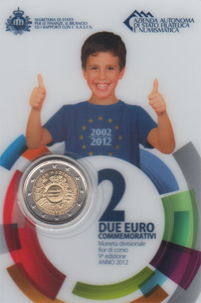 Изображение Подарочные наборы Сан-Марино 2 евро 2012 2012 Биметалл UNC