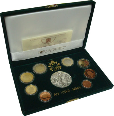 Изображение Подарочные монеты Ватикан Иисус Христос 2005  Proof