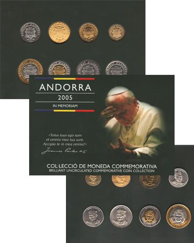 Изображение Подарочные монеты Андорра Иоанн Павел 2005  UNC Подарочный набор пос