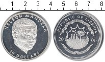 Изображение Монеты Либерия 10 долларов 2001 Серебро Proof- Нельсон Манднла