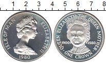 Изображение Монеты Остров Мэн 1 крона 1980 Серебро UNC- Королева Елизавета I