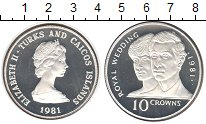 Изображение Монеты Теркc и Кайкос 10 крон 1981 Серебро Proof- Елизавета II