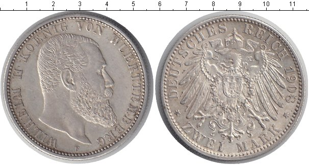 Картинка Монеты Вюртемберг 2 марки Серебро 1908