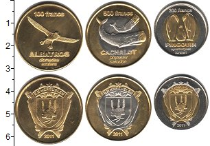 Изображение Наборы монет Острова Кергелен Острова Кергелен 2011 2011  UNC- В наборе 3 монеты но