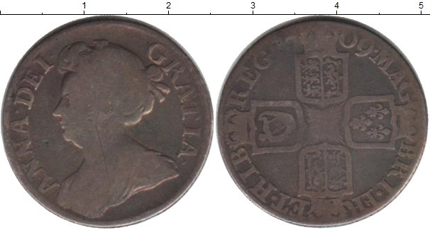 Картинка Монеты Великобритания 1 шиллинг Серебро 1709