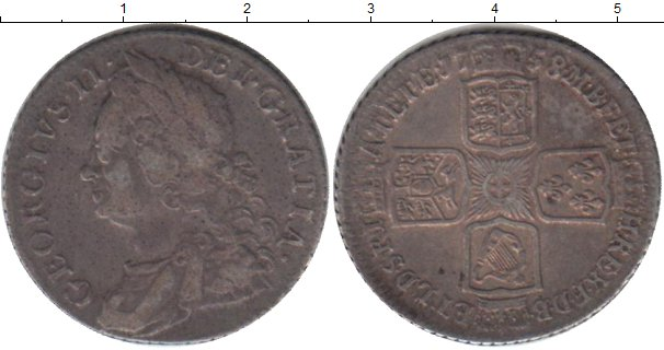 Картинка Монеты Великобритания 1 шиллинг Серебро 1758