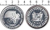 Изображение Монеты Суринам 100 гульденов 1992 Серебро Proof- Олимпиада-1992 в Бар