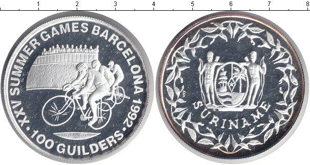 Картинка Монеты Суринам 100 гульденов Серебро 1992