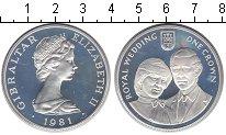 Изображение Монеты Гибралтар 1 крона 1981 Серебро Proof- Королевская свадьба