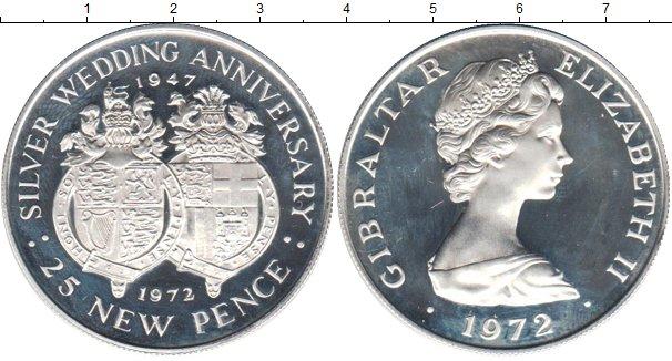 Картинка Монеты Гибралтар 25 пенсов Серебро 1972