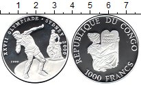 Изображение Монеты Конго 1000 франков 1999 Серебро Proof-