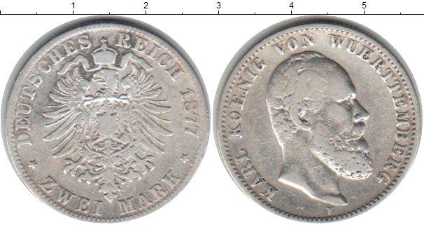 Картинка Монеты Вюртемберг 2 марки Серебро 1877