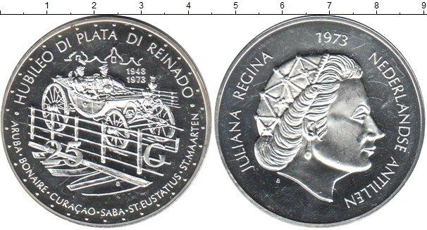 Картинка Монеты Антильские острова 25 гульденов Серебро 1973