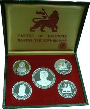 Изображение Подарочные монеты Эфиопия Правители Эфиопии 1972 Серебро Proof Набор посвящен прави