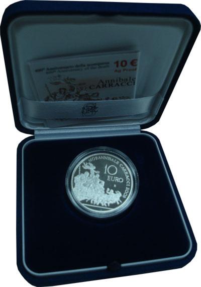 Изображение Подарочные наборы Италия Аннибале Карраччи- живописец 2009 Серебро Proof Подарочная монета по