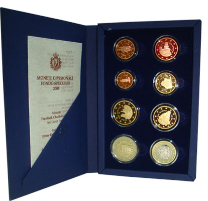 Изображение Подарочные наборы Сан-Марино Выпуск евромонет 2008 года 2008  Proof Набор монет республи