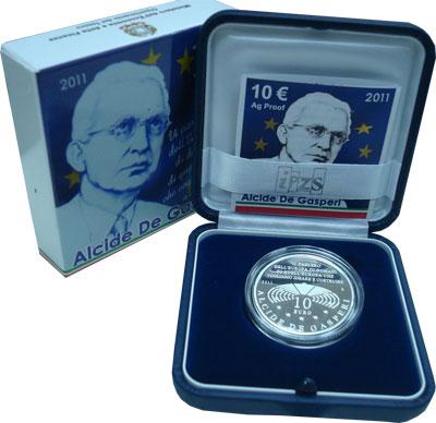 Изображение Подарочные наборы Италия Альчиде де Гаспери- премьер-министр Италии 2011 Серебро Proof