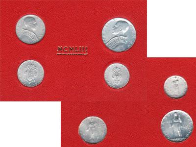 Изображение Подарочные монеты Ватикан Выпуск 1951 года 1951 Алюминий UNC Подарочный набор 195