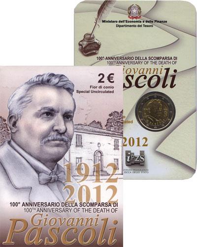 Изображение Подарочные наборы Италия 100-летие Джованни Пасколи 2012 Биметалл UNC Подарочная монета по