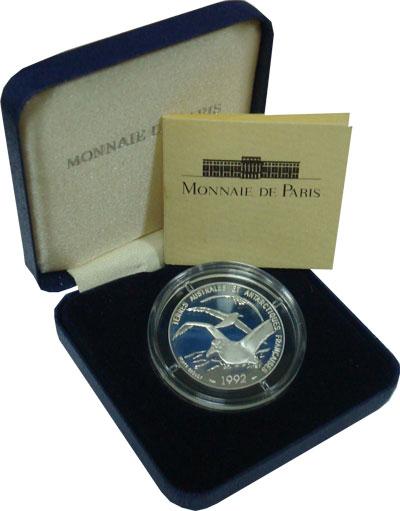 Изображение Подарочные монеты Франция Антарктические альбатросы 1992 Серебро Proof Подарочная монета се