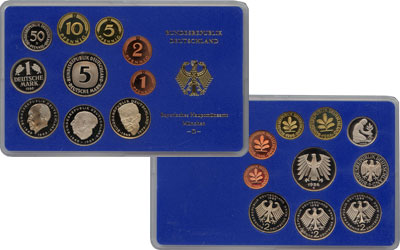 Изображение Подарочные монеты ФРГ Монеты 1985 (чеканка Гамбург) 1985  Proof В наборе 10 монет 19