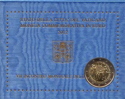 Изображение Подарочные монеты Ватикан 7-я Всемирная встреча семей 2012 Биметалл UNC Подарочная монета по