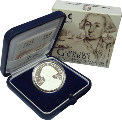 Изображение Подарочные монеты Италия 300- летие Франческо Гварди 2012 Серебро Proof Подарочная монета по