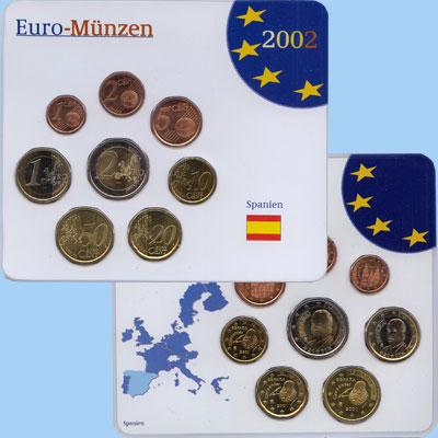 Изображение Подарочные монеты Испания Евронабор 2001 года 2002  UNC Евронабор 2002 года.