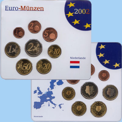 Изображение Подарочные наборы Нидерланды Евронабор 2002 года 2002  UNC Евронабор 2002 года.