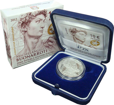 Изображение Подарочные монеты Италия Творчество Микеланджело Буонарроти 2012 Серебро Proof Подарочная монета по