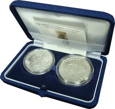 Изображение Подарочные наборы Италия Творчество Джакомо Пуччини 2004 Серебро UNC Подарочный набор пос