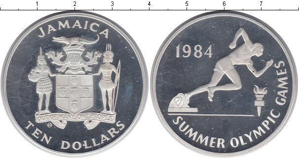 Картинка Монеты Ямайка 10 долларов Серебро 1984