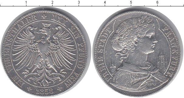 Картинка Монеты Франкфурт 1 талер Серебро 1858