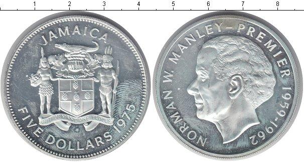 Картинка Монеты Ямайка 5 долларов Серебро 1975