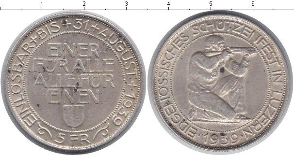 Картинка Монеты Швейцария 5 франков Серебро 1939