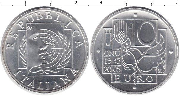Картинка Монеты Италия 10 евро Серебро 2005