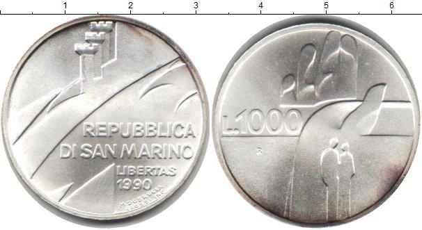 Картинка Монеты Сан-Марино 1.000 лир Серебро 1990
