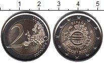 Изображение Мелочь Испания 2 евро 2012 Биметалл UNC 10 лет введения в на