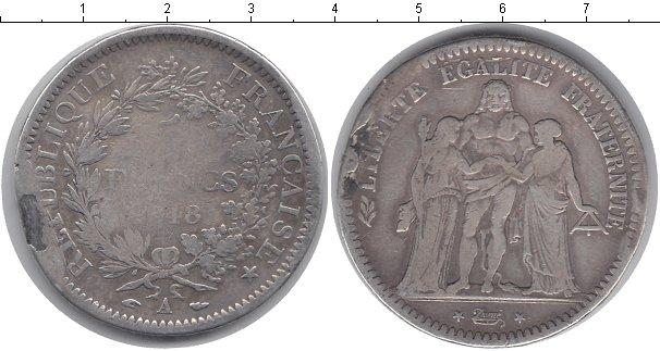 Картинка Монеты Франция 5 франков Серебро 1848
