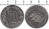 Изображение Монеты Центральная Африка 50 франков 1961 Медно-никель XF Антилопы. Essai