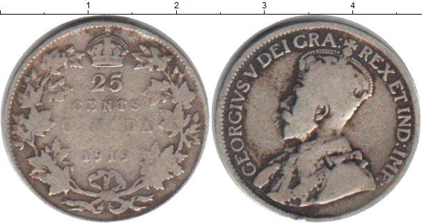 Картинка Монеты Канада 25 центов Серебро 1912