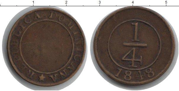 Картинка Монеты Доминиканская республика 1/4 реала Медь 1848